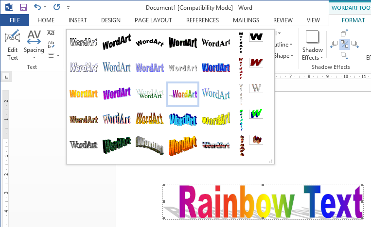 How to get Rainbow Text & other WordArt Effects in Word 2013