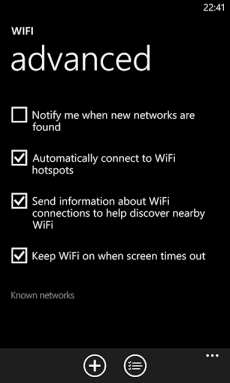 WP8 WiFi Advanced Setting