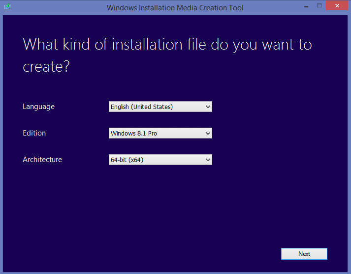 Windows 8 Installation Media Creation Tool