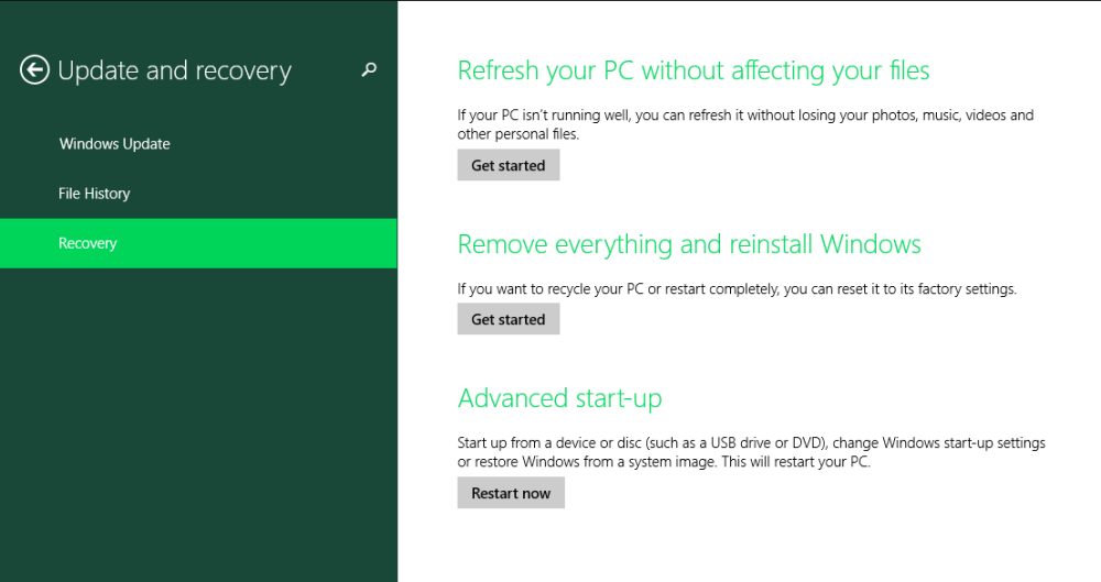 Windows 8 Recovery Page. Great for software rescue!