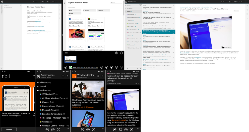 NextGen Reader for Windows (Above) was shockingly empty when I just opened it! After following the instructions to add feeds from the website, both Windows 8 & WP8 app (Below) filled up with glorious news!