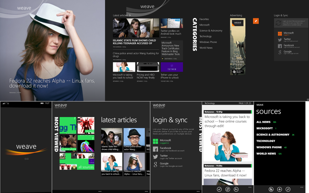Above half shows Weave for Windows 8.x, below is Weave for WP8.